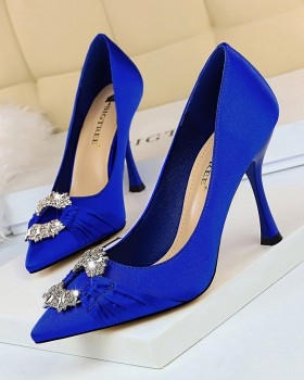 Satin banquet wedding shoes metal buckles shoes for women