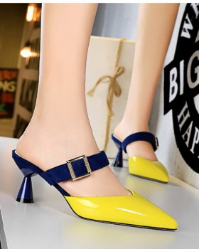 High-heeled pointed half mixed colors thick slippers