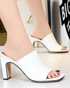 Simple square head slim high-heeled slippers for women