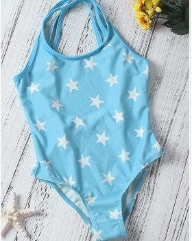 Sling European style conjoined swimwear child girl printing briefs