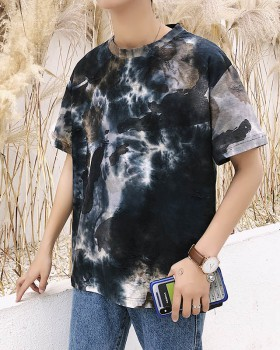 Fashion all-match T-shirt camouflage retro tops for men