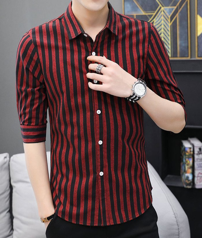 Korean style Casual slim shirt stripe black tops