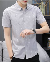White short sleeve slim Casual Korean style shirt for men