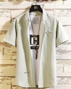 Short sleeve spring and summer shirt embroidered shirts