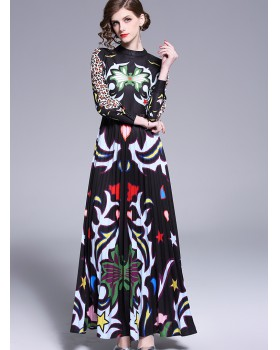 Leopard spring catwalk slim pleated cstand collar long dress