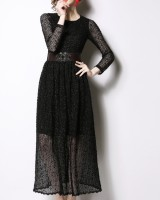 Spring lace dress European style belt
