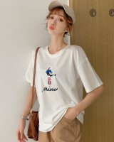 Loose cartoon tops embroidery T-shirt for women