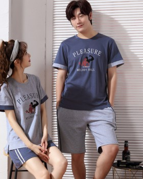 Couples pure cotton summer homewear thin pajamas a set