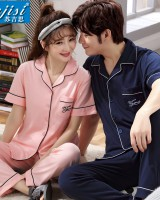 Pure cotton cardigan couples pajamas a set for women