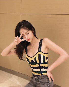 Knitted sling retro stripe vest