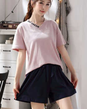 Summer Casual pure cotton short sleeve cotton pajamas a set