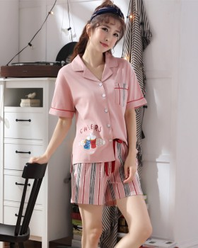 Short sleeve long pants pajamas a set for women