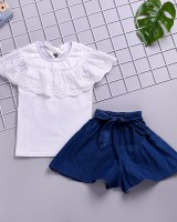 Pure cotton summer short jeans lace tops 2pcs set