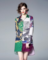 Mixed colors spring and summer shirt lapel jumpsuit