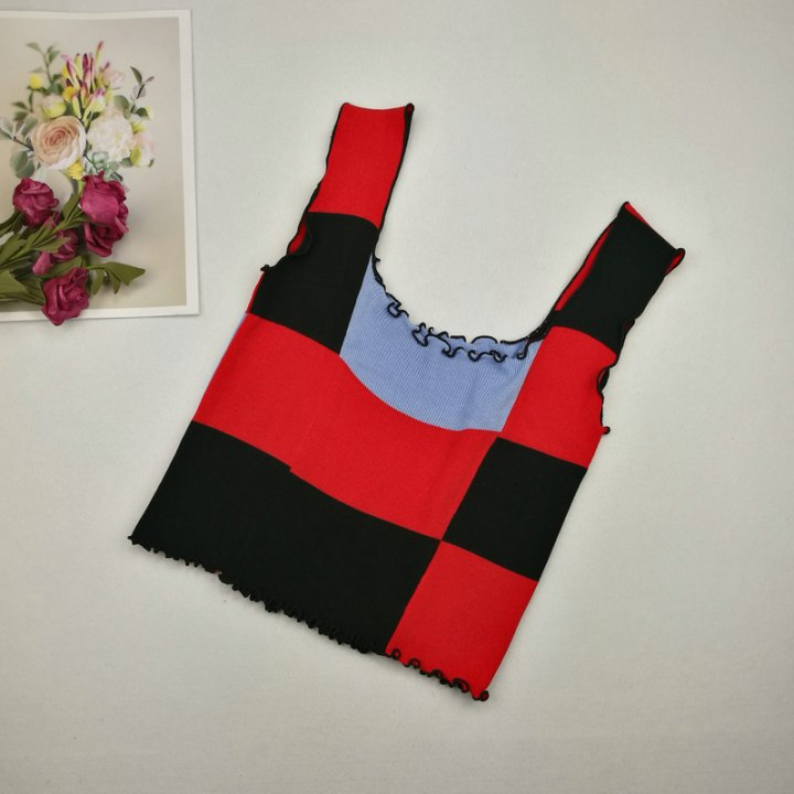 Mixed colors sling vest wood ear knitted tops for women