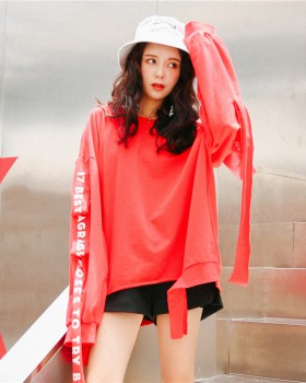 Letters small Korean style long sleeve printing hoodie