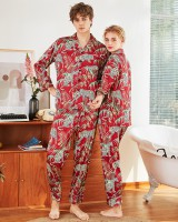 Long sleeve homewear imitation silk couples pajamas 2pcs set