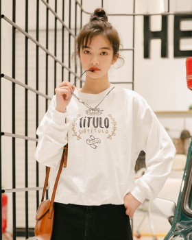 Round neck letters printing pullover hoodie for women