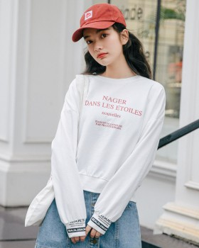 Letters round neck loose printing hoodie for women