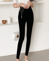 Zip feet long pants round asymmetry pencil pants