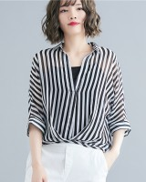 Chiffon bat sleeve shirt stripe slim vest 2pcs set