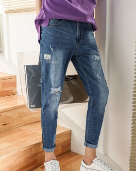 Korean style slim holes jeans nine tenths beggar pants for men