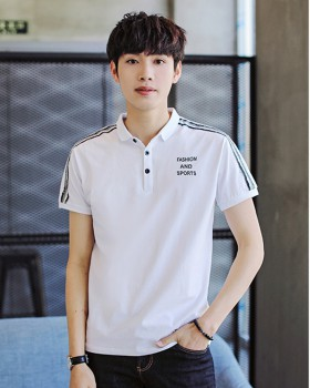 Casual short sleeve fashion T-shirt lapel summer sweater