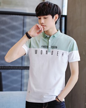 Slim short sleeve T-shirt Korean style splice tops for men