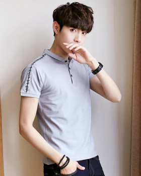 Pure cotton lapel shirts Korean style summer T-shirt for men