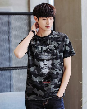 Camouflage Korean style shirts round neck tops for men