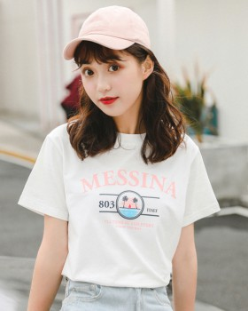 Korean style short sleeve printing refreshing T-shirt