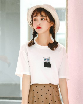 Student kitty Korean style all-match T-shirt for women
