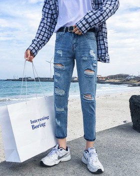 Holes Korean style feet jeans summer elasticity pants for men