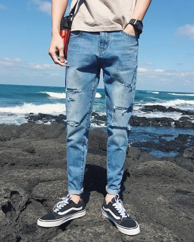 Feet holes nine tenths pants summer Korean style jeans