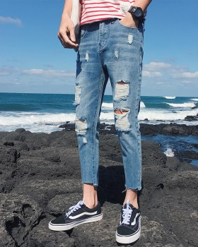 Fashion Korean style pants all-match summer jeans for men