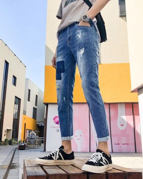 Korean style holes feet jeans beggar fashion pants for men