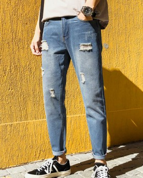 Holes summer feet casual pants denim washed nine pants for men