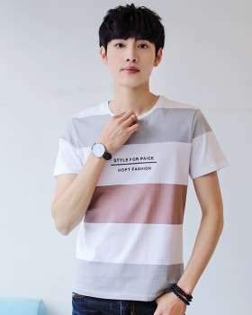 Short sleeve stripe summer Korean style T-shirt for men