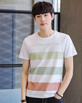 Short sleeve stripe Korean style summer fashion T-shirt