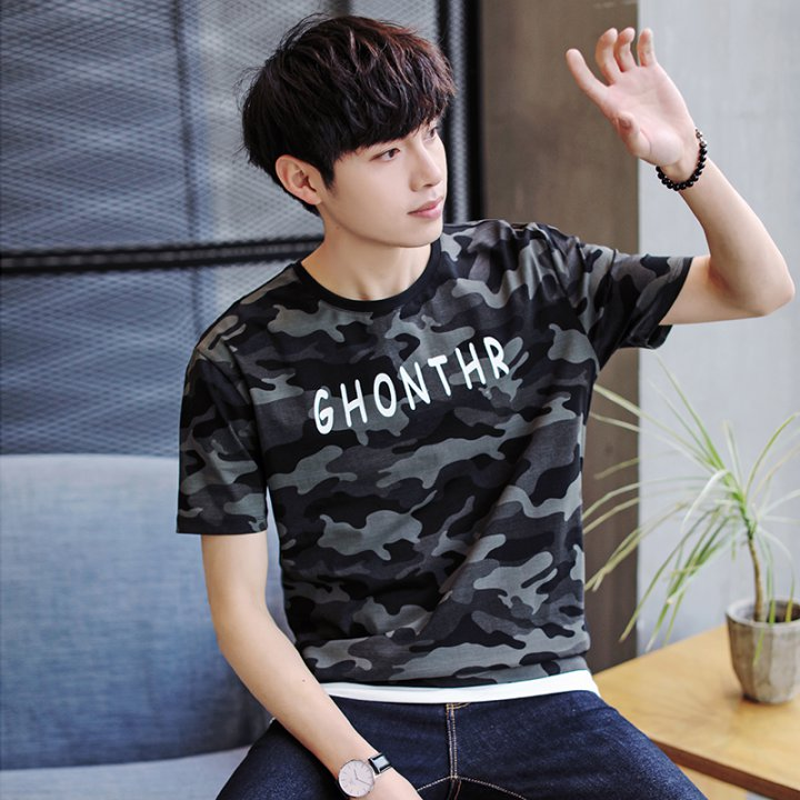 Printing camouflage T-shirt Korean style fashion tops for men
