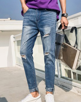 Casual holes pants Korean style summer jeans for men