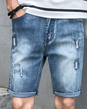 Holes slim shorts summer thin pants