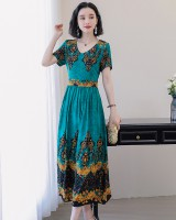 V-neck cotton summer long dress printing elegant dress