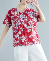 Short sleeve printing cotton linen large yard summer shirt