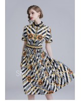 All-match fashion slim temperament printing dress for women
