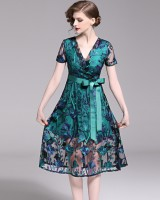 Decorous frenum summer pinched waist dress for women
