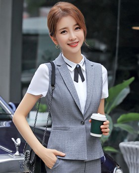 Gray business suit waistcoat a set for women
