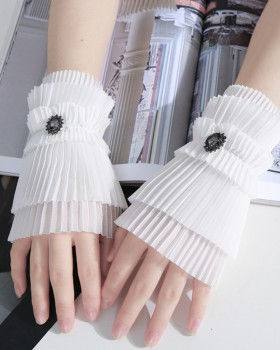 All-match chiffon diamond pleated Gloves for women