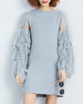 Korean style loose dress knitted sweater for women