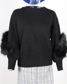 Pullover splice sweater Korean style tops for women